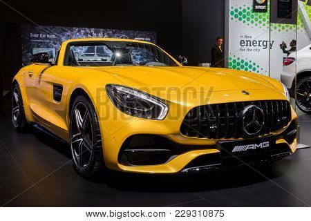 Brussels - Jan 10, 2018: Mercedes Amg Sls Gt Sports Car Showcased At The Brussels Motor Show.