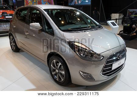 Brussels - Jan 10, 2018: Hyundai Ix20 Compact Mpv Car Showcased At The Brussels Motor Show.