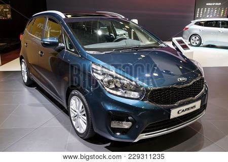 Brussels - Jan 10, 2018: Kia Carens Car Shown At The Brussels Motor Show.