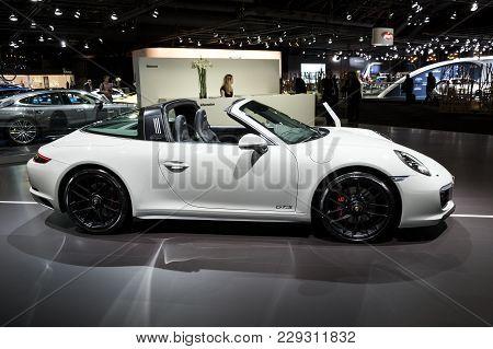 Brussels - Jan 10, 2018: Porsche 911 Targa 4 Gts Sports Car Shown At The Brussels Motor Show.