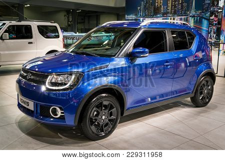 Brussels - Jan 10, 2018: Suzuki Ignis Ultra Compact Suv Car Shown At The Brussels Motor Show.