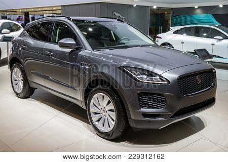 Brussels - Jan 10, 2018: Jaguar E-pace Compact Performance Suv Car Shown At The Brussels Motor Show.