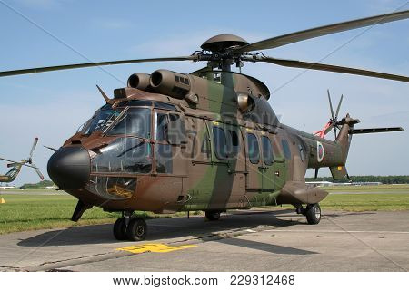 Liege, Belgium - May 13, 2007: Slovanian Air Force Eurocopter As532 Cougar Transport Helicopter