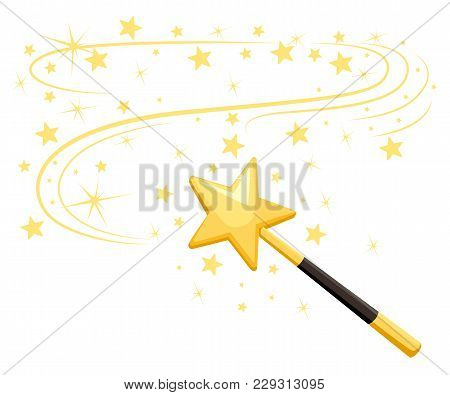 Decorative Magic Wand With A Magic Trace. Star Shape Magic Accessory. Magical Girl Cartoon Power. Ve