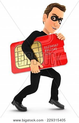 3d Thief Stealing A Big Sim Card, Illustration With Isolated White Background