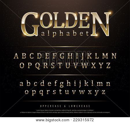 80s Retro Elegant Gold Colored Metal Chrome Alphabet Font. Typography Classic Style Golden Font Set