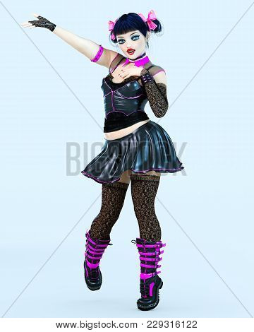 3d Sexy Goth Girl Doll Big Blue Eyes And Bright Makeup In Stockings. Woman Retro Style Dress Corset.