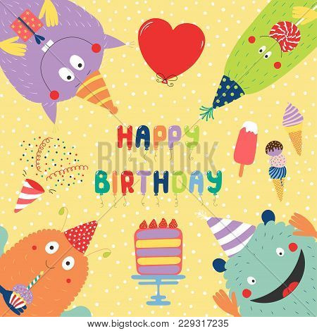 Hand Drawn Birthday Card With Cute Funny Monsters In Party Hats, Looking From All Sides, With Cake,