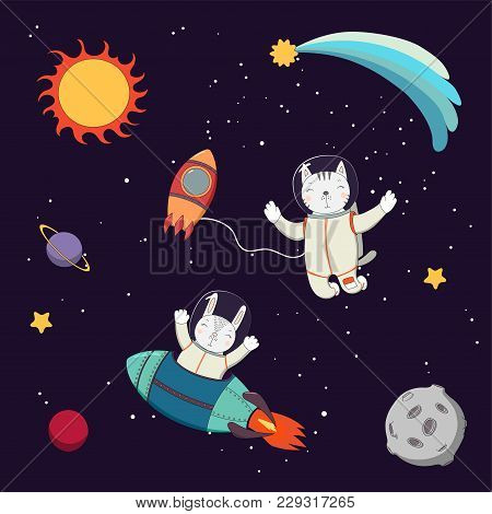 Hand Drawn Colorful Vector Illustration Of A Cute Funny Bunny Astronaut In A Rocket And Cat Astronau
