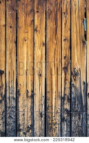 Background Of Wooden Board On The Wall Of The Shed With Wire