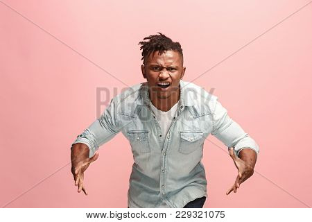 Screaming, Hate, Rage. Crying Emotional Angry Afro Man Screaming On Pink Studio Background. Emotiona