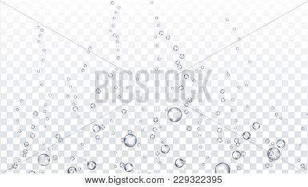 Bubbles Transparent Vector. Underwater. Water Drops, Bubbles Texture. Gas, Oxygen Bubbles. Effervesc