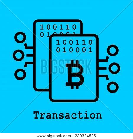 Block Chain Flat Icon. Transaction Symbol. Vector Illustration. Block Chain Technology Concept.