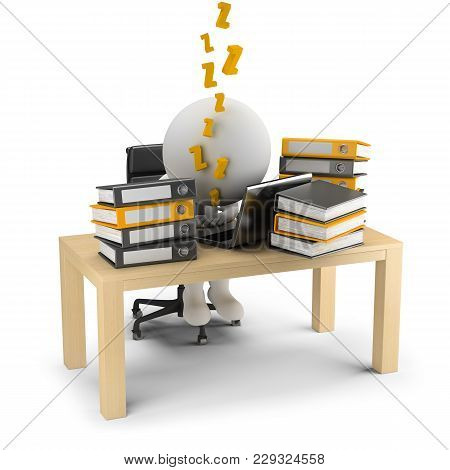 3d Small People Sleeps In The Workplace. 3d Image. White Background.