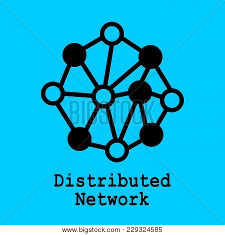 Block Chain Flat Icon. Distributed Network Symbol. Vector Illustration. Block Chain Technology Conce