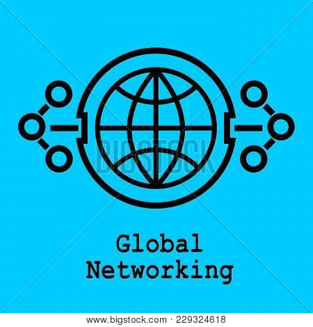 Block Chain Flat Icon. Global Networking Symbol. Vector Illustration. Block Chain Technology Concept