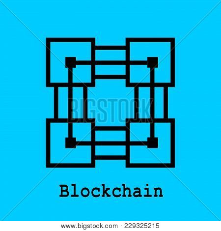 Block Chain Flat Icon. Vector Illustration. Block Chain Technology Concept.