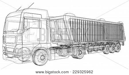 Vector Dump Truck. Tipper Lorry On Transparent Background. Racing Illustration Of 3d. Eps 10 Vector