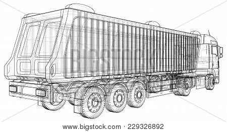 Tipper Lorry On Transparent Background, Logistics Transportation And Cargo Freight Transport Industr
