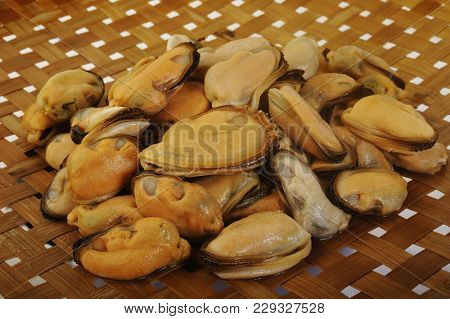 Peeled Frozen Mussels Food At On Background