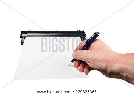 Signature On A Piece Of Paper, With Cartridge Isolated On White Background.