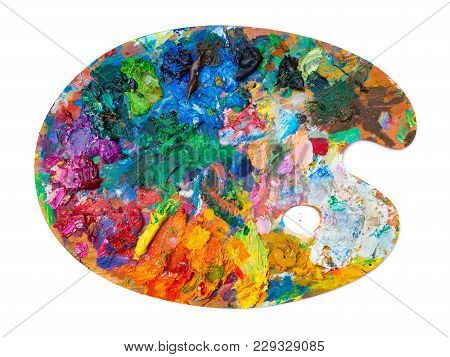 Bright Oil Paint Palette On White Background