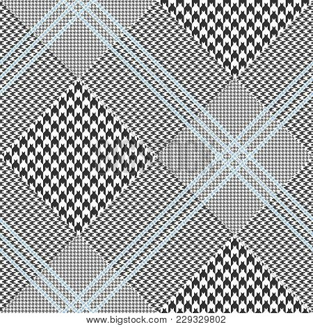 Seamless Glen Plaid Pattern In Black And White With Triple Blue Overcheck. Diagonal Print. Classic P