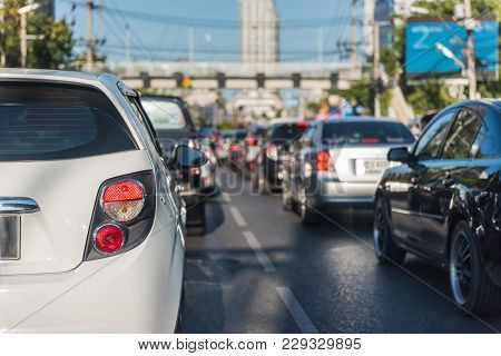 Traffic Jam With Row Of Cars On Street