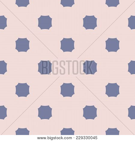 Retro Style Vintage Seamless Pattern. Simple Abstract Geometric Texture With Concave Octagons. Blue