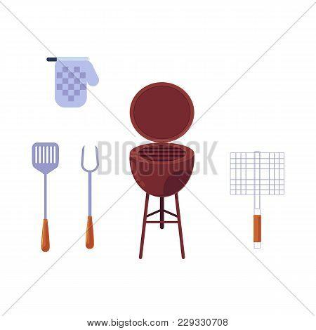 Vector Flat Barbecue, Bbq Symbols Set. Kitchen Tools, Glove , Coal Grill, Grilling Basket, Steel Gri
