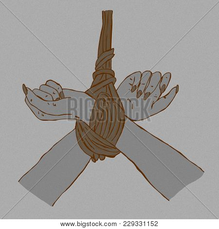 Tied Up Hands Vintage Symbolic Image With Ropes