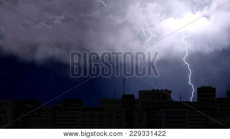 Electric Firebolts Striking From Clouds To Ground In The Night City, Bad Weather, Stock Footage