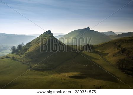 Beautiful Landscape Image Of Parkhouse Hill And Chrome Hill In Peak District At Sunset
