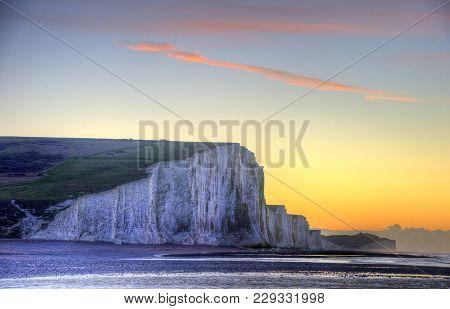 Stunning Winter Landscape Sunrise Above The Seven Sisters Cliffs
