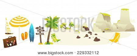 Vector Flat Travelling Bag, Beach Vacation Icon Set. Summer Holiday Slippers Surf Sand Island With P