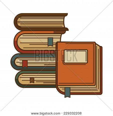 Books With Bookmarks For Literature Reading And And Poetry Writing. Vector Isolated Icon For Booksto