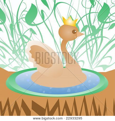 Cute duck with crown on nature background greeting card poster