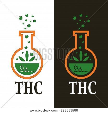 Illustration For Logo Design Cannabis As Thc