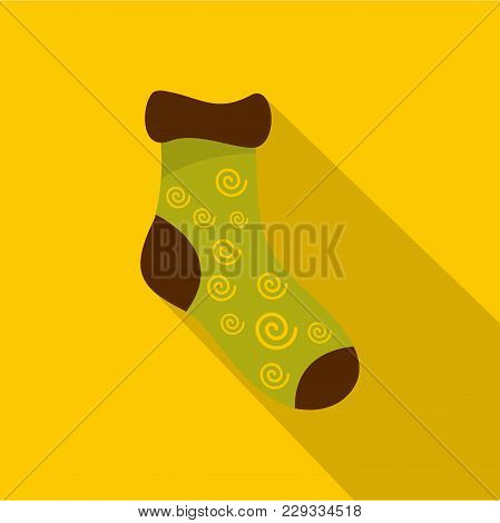 One Sock Icon. Flat Illustration Of One Sock Vector Icon For Web