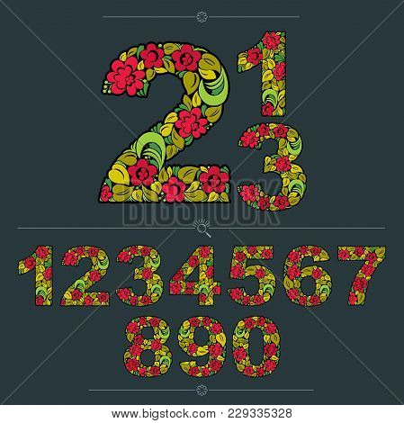 Set Of Beautiful Numbers Decorated With Herbal Autumn Ornament. Colorful Vector Numeration Made In F