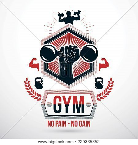 Graphic Vector Sign Created With Strong Athlete Biceps Arm, Dumb-bell And Kettle Bell Sport Equipmen