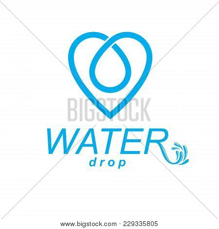 Vector Blue Clear Water Drop Symbol For Use In Mineral Water Advertising. Human And Nature Harmony C