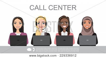 Vector Icons Set Multiracial Female Call Center Avatars In A Cartoon Style With A Headset, Conceptua