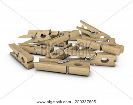 Pegs On A White Background. 3d Illustration.