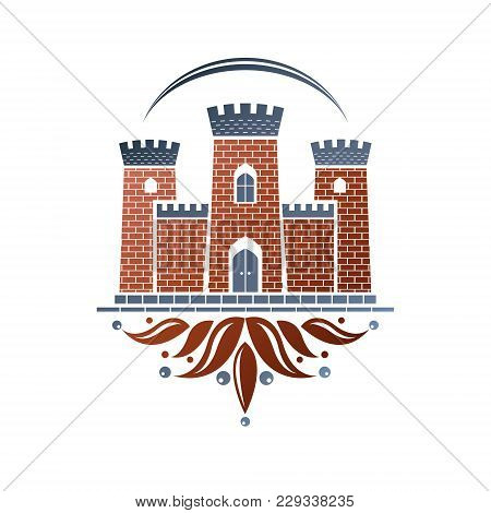 Medieval Fortress Decorative Isolated Vector Illustration. Ornate Fortress Logo In Old Style On Isol