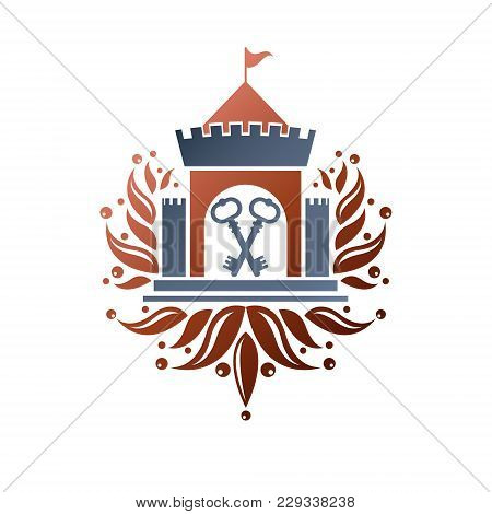 Medieval Fortress Decorative Isolated Vector Illustration.  Antique Fortress Logo In Old Style On Is