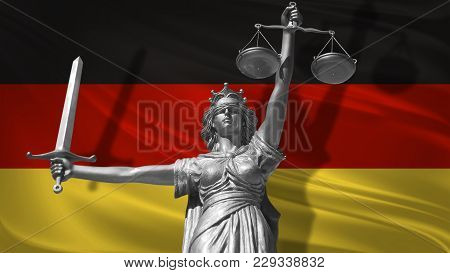 Cover About Law. Statue Of God Of Justice Themis With Flag Of Germany Background. Original Statue Of