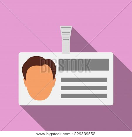 Name Tag Badge With Man S Head Silhouette. Plastic Horizontal Badge With Clasp. Name Card Icon With
