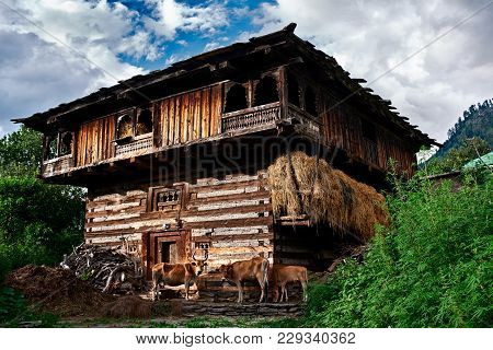 Traditional Countryside Wooden House In Naggar. Kullu Valley, Himachal Pradesh, North Part Of India.