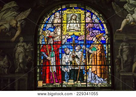 Parma, Italy - February 17, 2018: Interior Of The Parma Cathedral In Italy. It Is An Important Itali